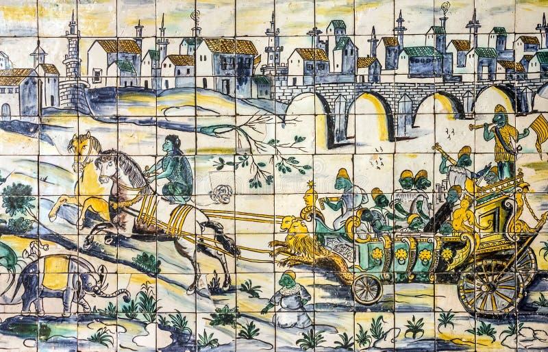 Baldosa cerámica antigua, museo Azulejo, Lisboa, Portugal imágenes de archivo libres de regalías