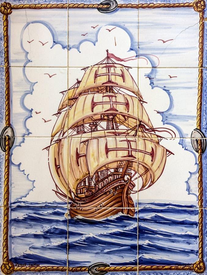 Baldosa cerámica antigua, museo Azulejo, Lisboa, Portugal navegación imagen de archivo