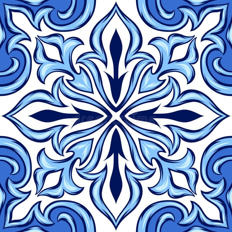Baldosa cerámica del azulejo portugués ilustración del vector