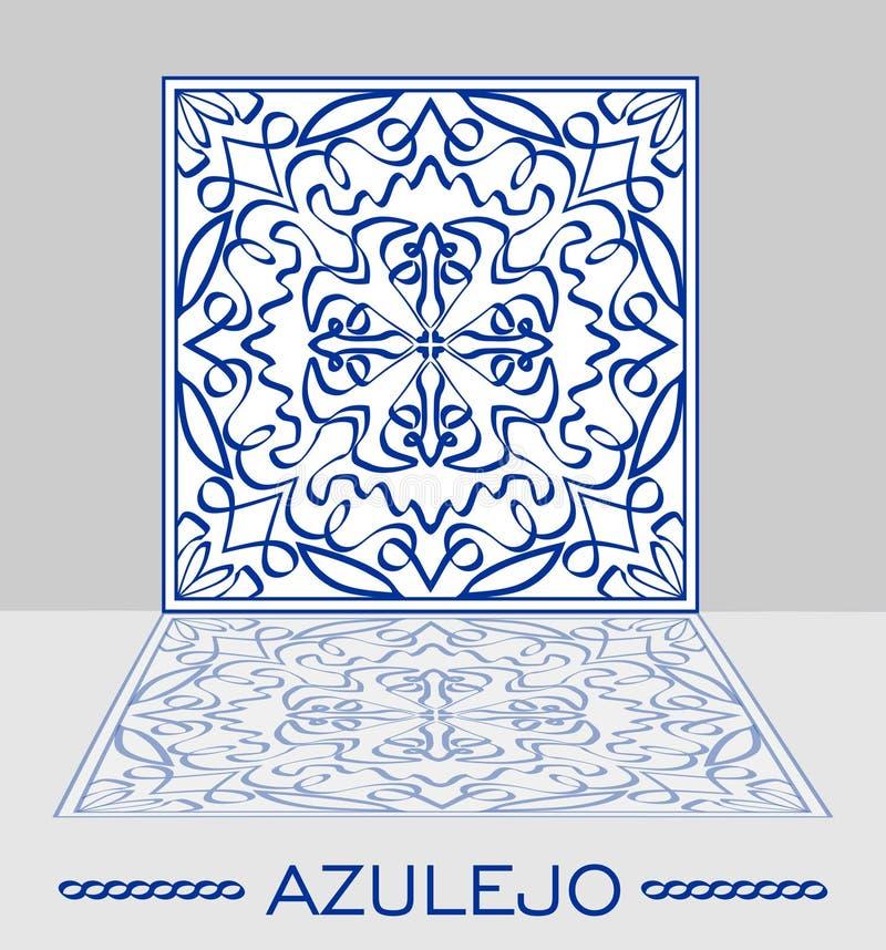 Baldosa cerámica portuguesa original de Azulejo con imagen de espejo en fondo gris claro ilustración del vector