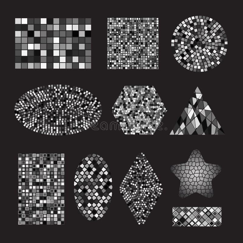 Baldosas cerámicas del mosaico blanco y negro determinado libre illustration