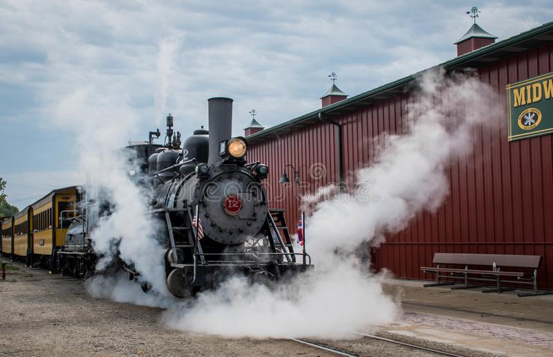 A Baldwin Steam Engine at the Midwest Old Threshers Reunion, Mt. Pleasant, Iowa, USA. The restored Baldwin 12 engine at the Midwest Old Threshers Reunion, Mt stock photo