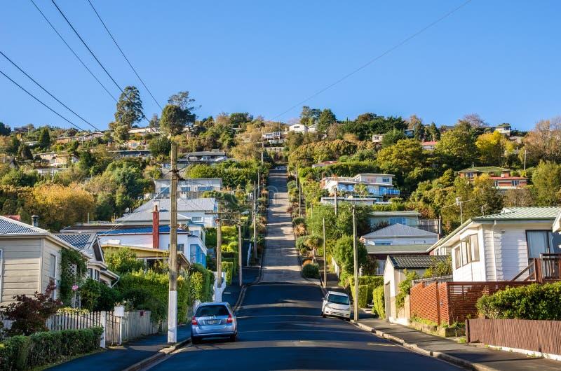 Baldwin Street que é ficado situado em Dunedin, Nova Zelândia é a rua a mais íngreme do mundo no mundo fotografia de stock