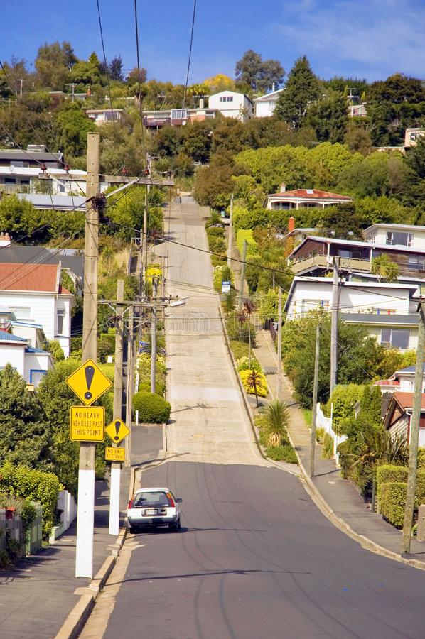 Baldwin Street the world`s steepest street in Dunedin, Otago, South Island, New Zealand. stock images