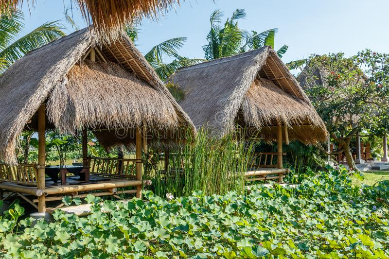 Bale in Balinese restaurant near the lotus pond. Traditional Indonesian dining. Bali, Indonesia. royalty free stock image