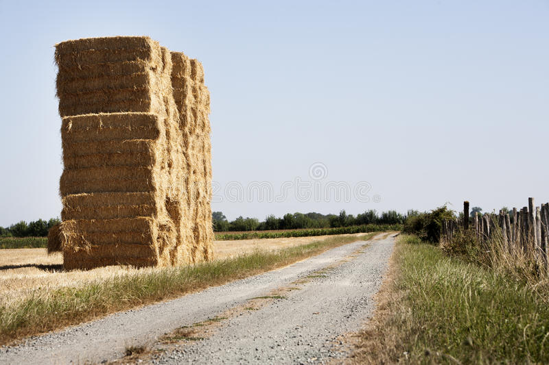 Bale of haystack and a dirt road royalty free stock photos