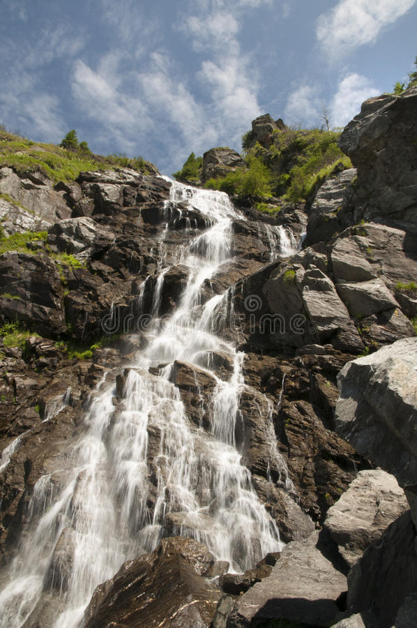 Balea cascade. Balea waterfall located in Transfagarasan, Romania stock photo
