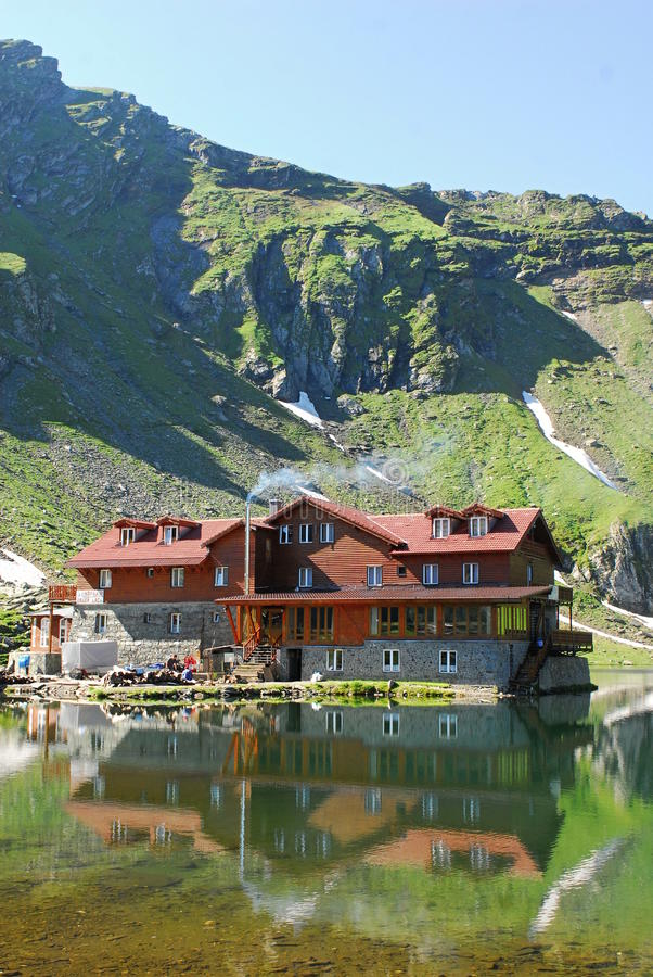 Balea lac. The Bâlea Lake is a glacier lake situated at 2,034 m of altitude in the Făgăraş Mountains, in central Romania, in Sibiu County. It is royalty free stock photography