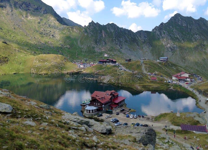 Balea Lac, Carpathians Mountains, Romania. Famous natural glaciar lake `Balea Lac` in the Meridional Carpathian Mountains, on the Transfagarasan road near royalty free stock images