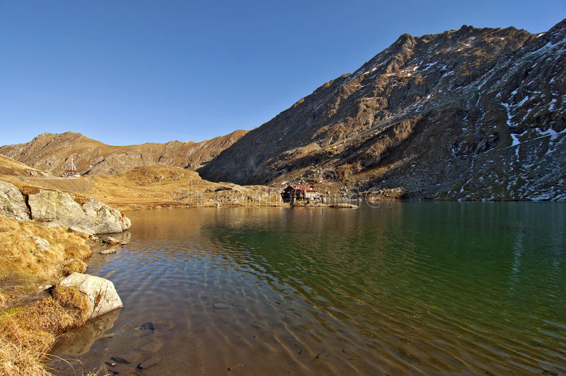 Balea lac lake. In Carpathians, Fagaras Mountains royalty free stock photo