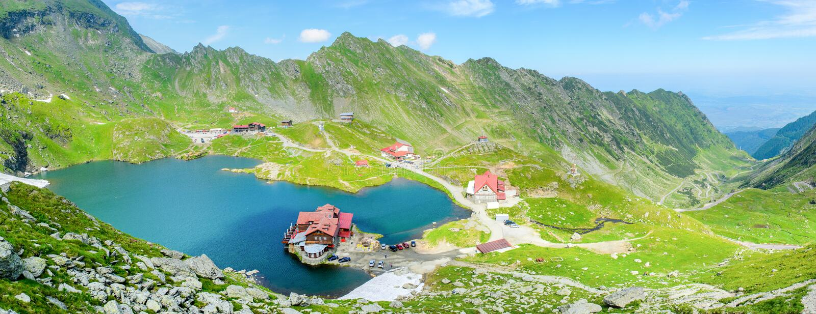 Balea Lac Transfagarasan Romania Landscape with Lake house, near Moldoveanu peak, Arges county, Transylvania, Romania. Balea ALc - Varful Moldoveanu- Muntii stock images