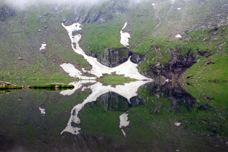 Balea lake. From Transfagarasan, a glacial lake in Romania royalty free stock photos