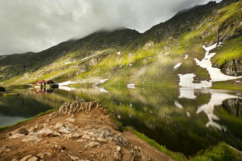 Balea lake. Fagaras mountain - Romania royalty free stock image