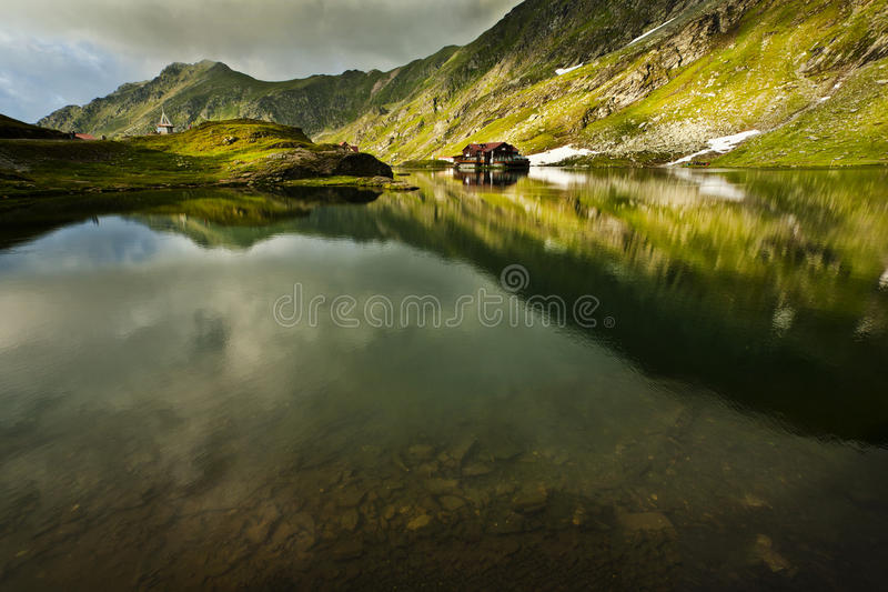 Balea lake. Fagaras mountain - Romania stock photography