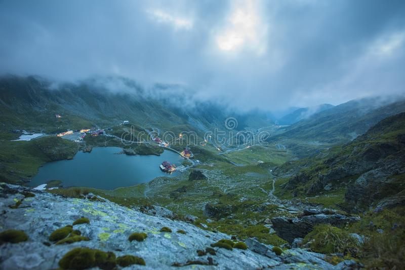 Balea lake in Fagaras mountain. Romania. evening landscape stock photography