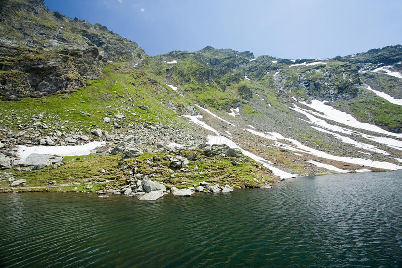 Balea Lake in Romania. Landscape, beautiful view of Balea Lake in Romania, Fagaras mountains stock photo