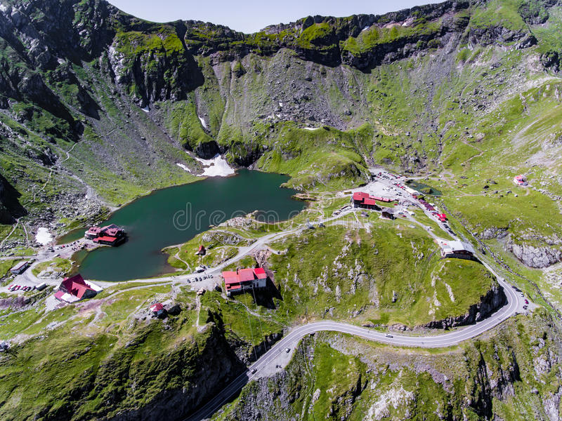 Balea Lake on Transfagarasan near Sibiu Romania. Aerial view stock images