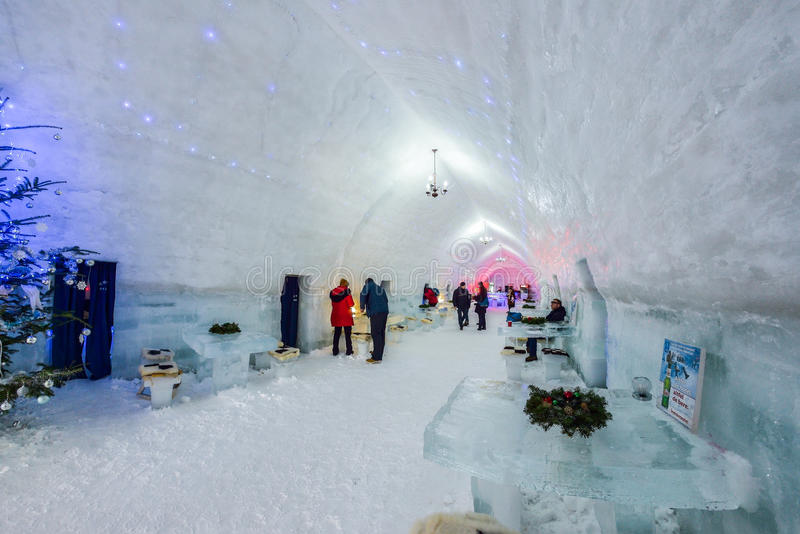 BALEA, ROMANIA - JANUARY 27 2017 - Ice hotel in the frozen Balea Lake in the Fagaras mountains, Romania. Ice hotel in the frozen Balea Lake in the Fagaras stock photos