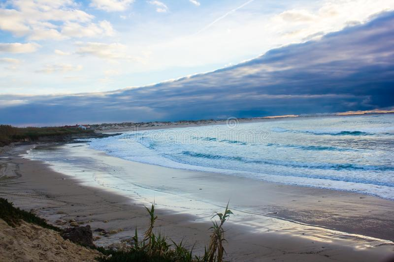 Baleal bay after a storm, Peniche, Portugal. Partial view of the immense Baleal bay, in Peniche, Portugal, after a storm royalty free stock photos