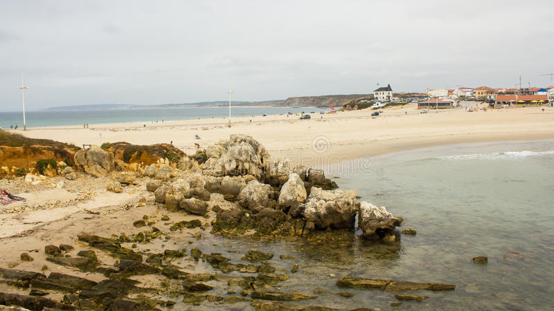 Baleal, Portugal, one isthmus, two beaches. Two beaches in Baleal, Peniche, Portugal, separeted by a isthmus. In the foreground, it is Baleal South Beach; in the stock photo