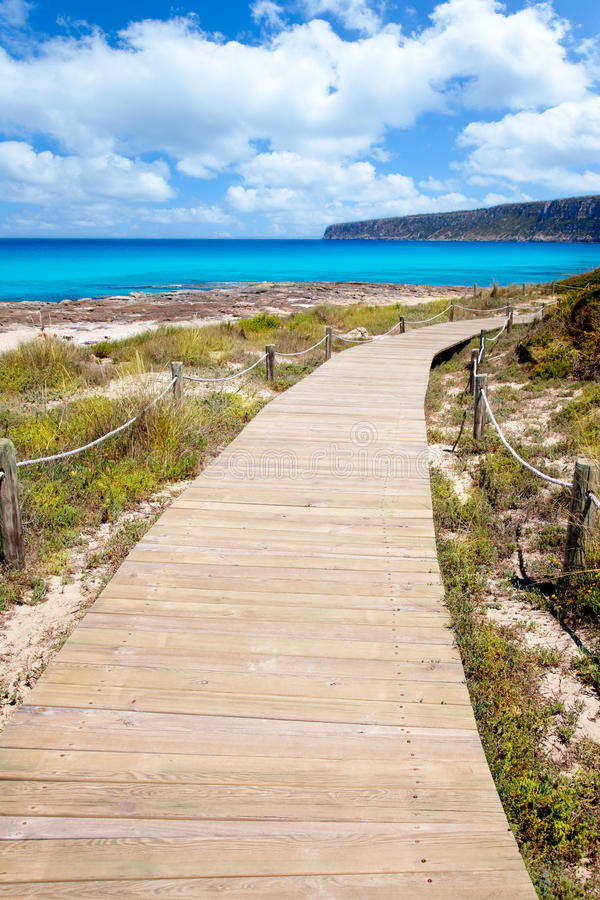 Balearic Formentera Island Wood Beach Way Stock Photo