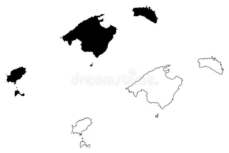 Balearic Island översiktsvektor vektor illustrationer