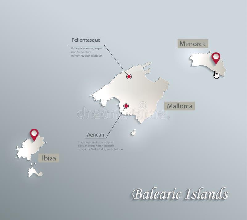 Balearic Island Mallorca, Menorca, papper 3D för kort för Ibiza översikt blått vitt royaltyfri illustrationer