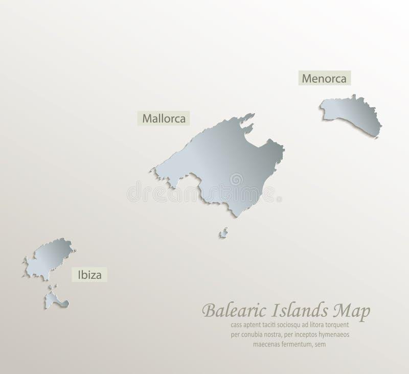 Balearic Island Mallorca, Menorca, papper 3D för kort för Ibiza översikt vitt blått vektor illustrationer