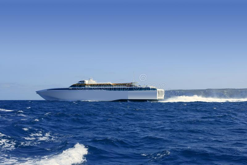 Balearic Islands Fast Speed Ferry On Blue Sea Royalty Free Stock Image