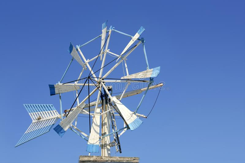 Balearic islands Formentera old wind mill stock image