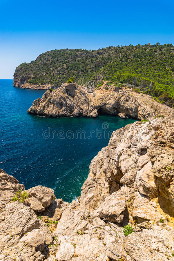 Balearic Islands Landscape Majorca Spain. Rocky coast Mallorca island, beautiful seaside at the bay of Cala Monjo, Spain Mediterranean Sea, Balearic Islands royalty free stock images