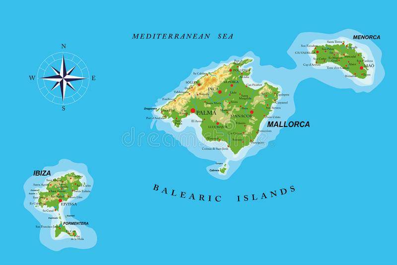 Balearic islands physical map stock photography