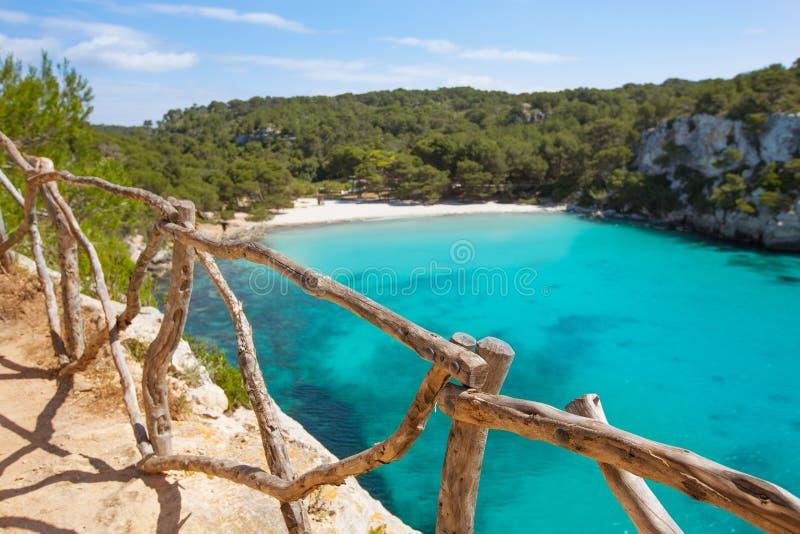 Balearic medelhavs- för Cala Macarella Menorca turkos arkivbild