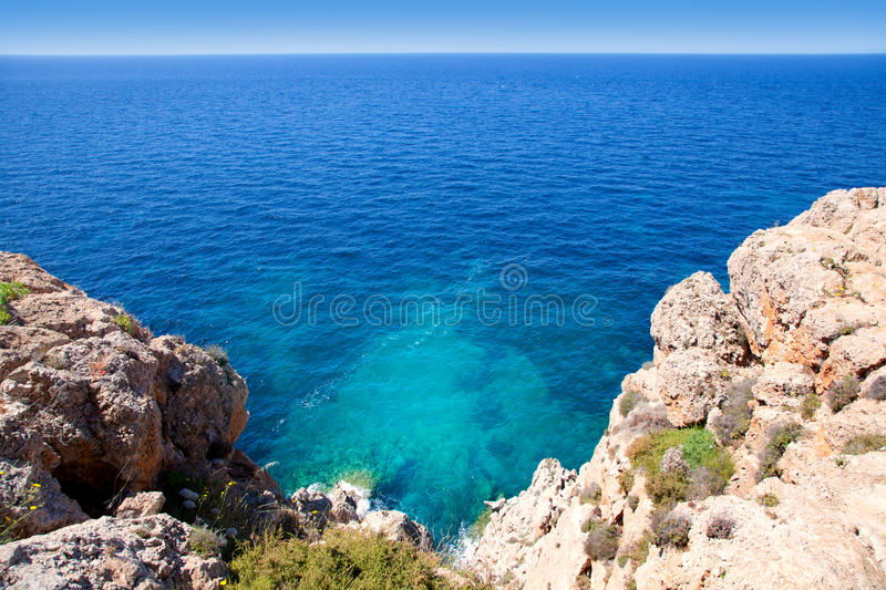 Balearic Mediterranean sea high view from Barbaria. Formentera island stock image