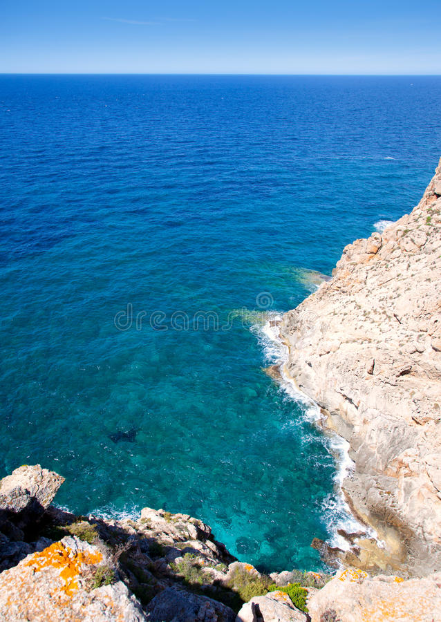 Balearic Mediterranean Sea High View From Barbaria Royalty Free Stock Photos
