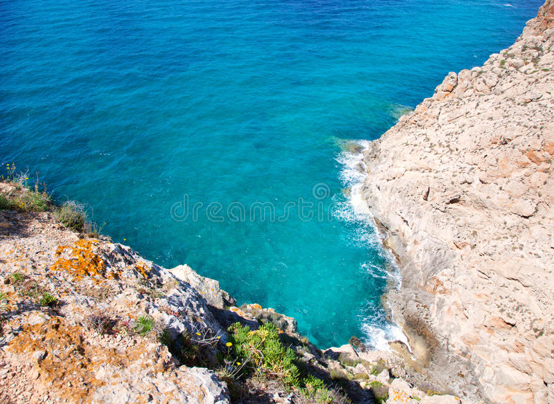 Balearic Mediterranean sea high view from Barbaria. Formentera island stock photography
