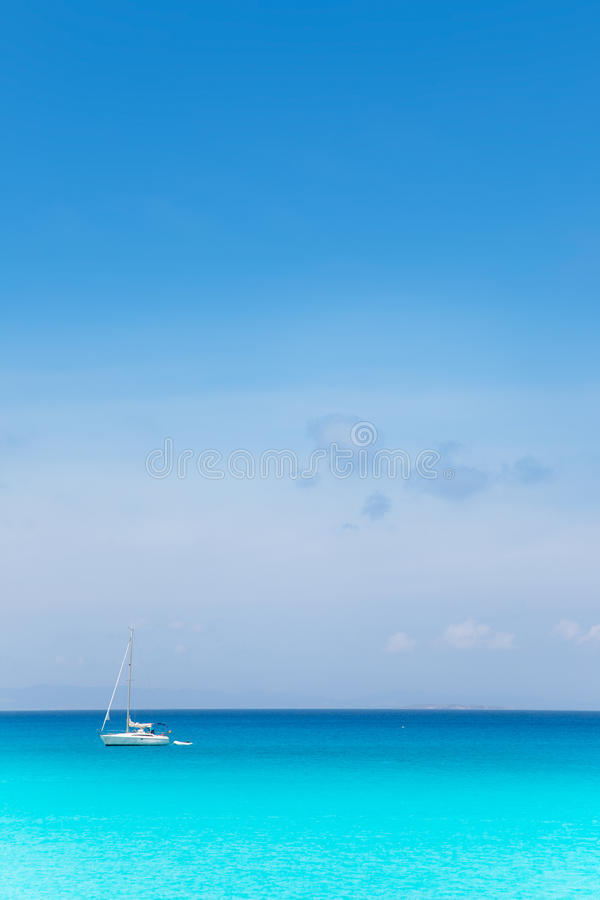 Download Balearic Mediterranean Turquoise Sea With Sailboat Stock Image - Image: 25411285