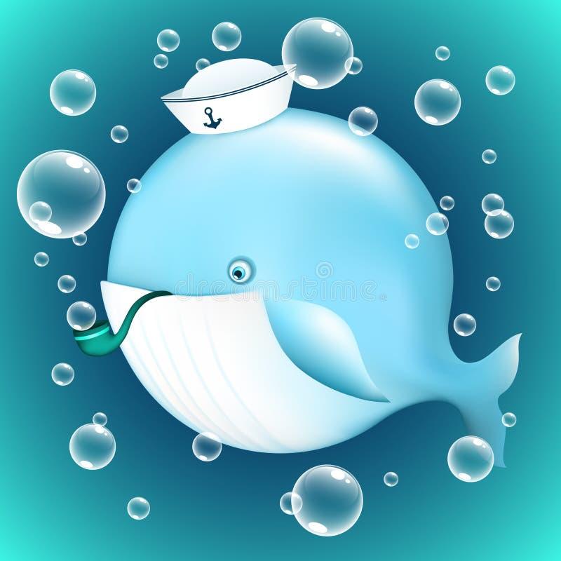baleia azul dos desenhos animados no chapéu do marinheiro com a tubulação de fumo com bolhas de sabão ilustração royalty free