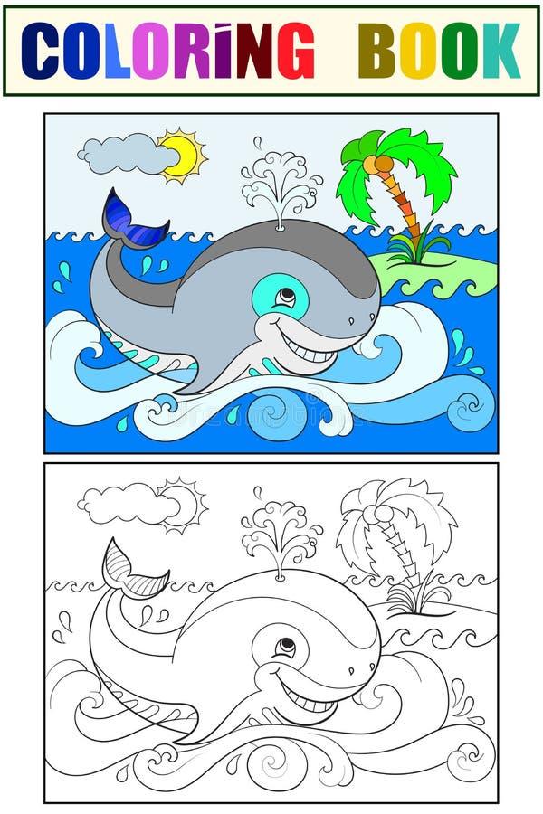 Baleia azul em um fundo da coloração do oceano para a ilustração dos desenhos animados das crianças branco, preto e cor ilustração do vetor
