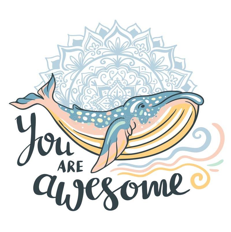 Baleia bonito Baleia impressionante no fundo marinho com ondas e mandala dentro ilustração do vetor