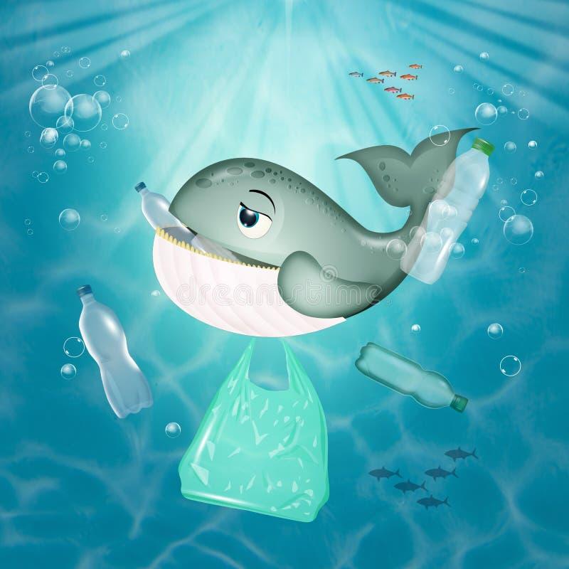 Baleia come plástico no mar ilustração do vetor