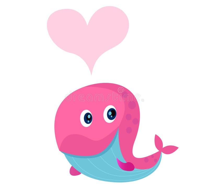 Baleia cor-de-rosa bonito com forma do coração no amor ilustração do vetor