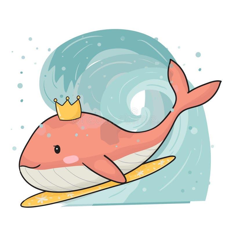 Baleia cor-de-rosa bonito na prancha, surfando no vetor liso da tra??o grande da m?o da onda ilustração royalty free
