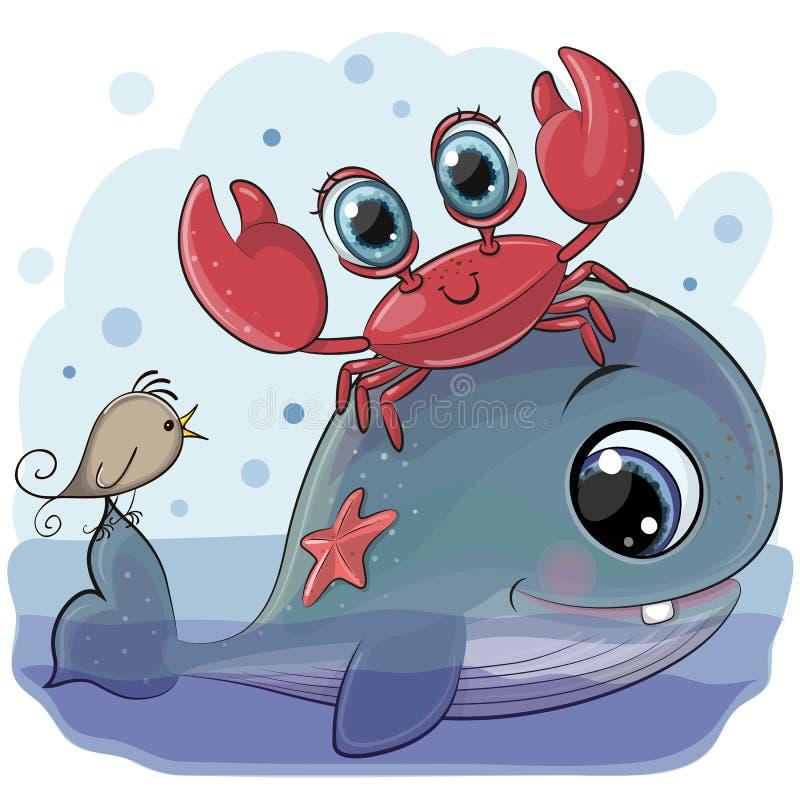 Baleia dos desenhos animados com caranguejo e pássaro ilustração royalty free