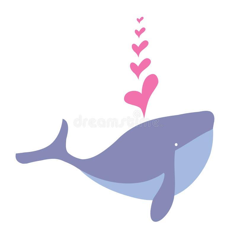 Baleia dos desenhos animados e coração felizes, animal da baleia dos desenhos animados da água ilustração do vetor