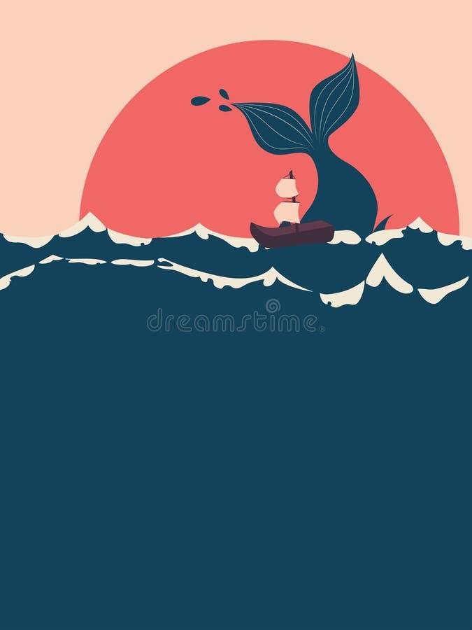 Baleia e barco ilustração do vetor