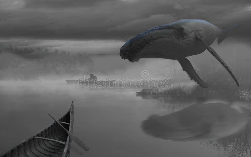 Baleia e barco a remos do voo fotos de stock
