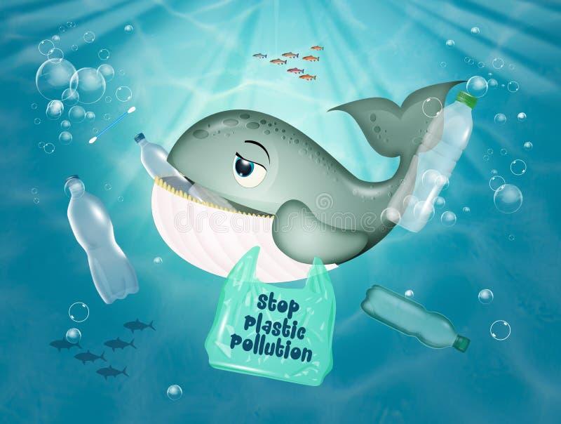 Baleia em perigo porque come plástico no mar ilustração stock