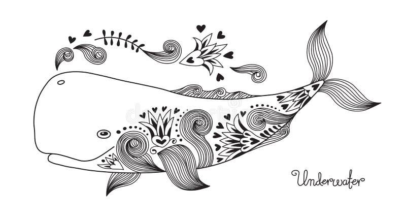 Baleia feliz da tatuagem ilustração royalty free