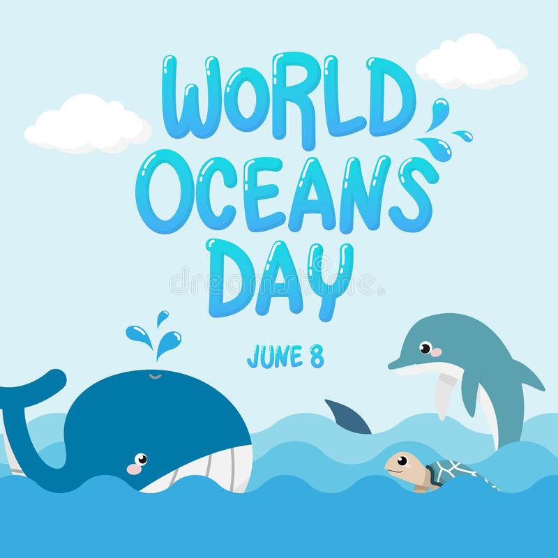 Baleia, golfinho, tubarão e tartaruga no oceano com dia dos oceanos do mundo do texto vetor da vida marinha para o dia dos oceano ilustração royalty free